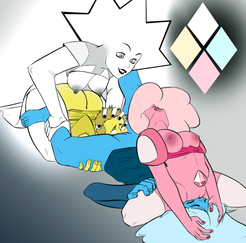 blue and pink steven universe diamond He's just standing there menacingly spongebob